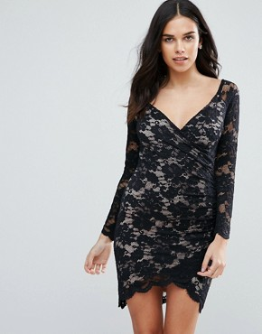 photo Long Sleeve Lace Dress with Asymmetric Hem by Jessica Wright, color Black - Image 1