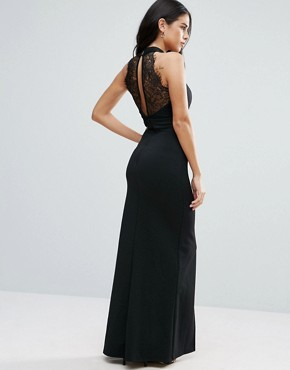 photo Maxi Dress with Front Split and Lace Detail by Jessica Wright, color Black - Image 2