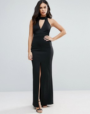 photo Maxi Dress with Front Split and Lace Detail by Jessica Wright, color Black - Image 1