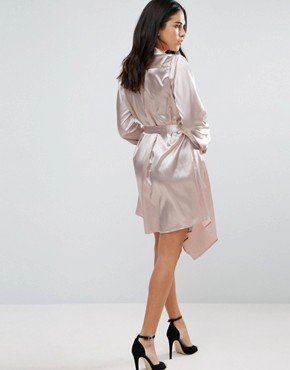 photo Long Sleeve Satin Shirt Dress by Jessica Wright, color Pink - Image 2
