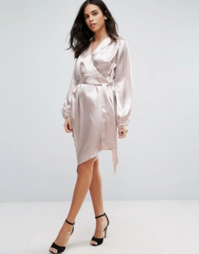 photo Long Sleeve Satin Shirt Dress by Jessica Wright, color Pink - Image 1