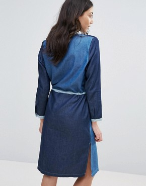 photo Panelled Denim Shirt Dress by Neon Rose, color Blue - Image 2