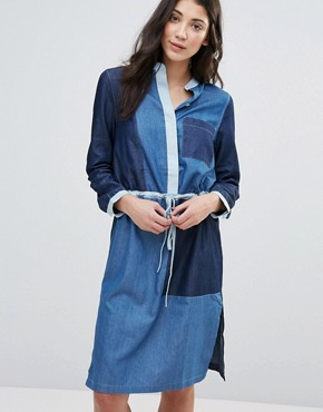 photo Panelled Denim Shirt Dress by Neon Rose, color Blue - Image 1
