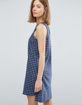 photo Crosshatch Tent Shift Dress by Native Youth, color Blue/White - Image 2