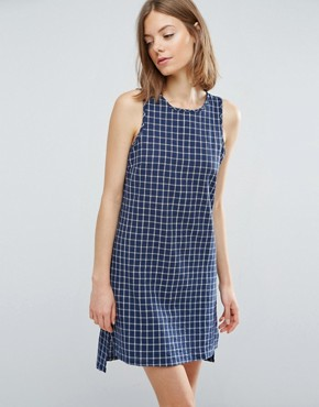 photo Crosshatch Tent Shift Dress by Native Youth, color Blue/White - Image 1