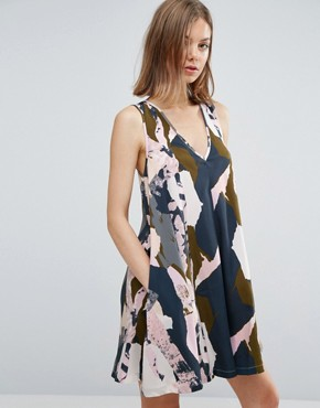 photo Graphic Coastal Print V Neck Swing Dress by Native Youth, color Olive/Navy - Image 1