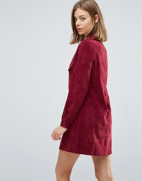 photo Corduroy Shirt Dress by Native Youth, color Dark Red - Image 2