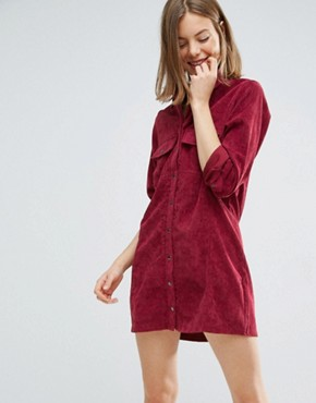 photo Corduroy Shirt Dress by Native Youth, color Dark Red - Image 1