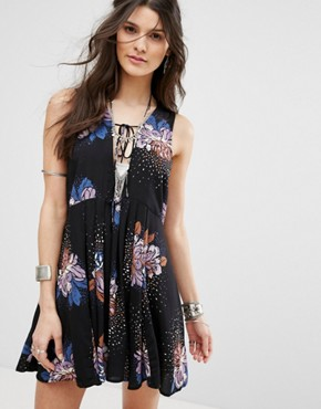 photo Lovely Day Printed Tunic Dress by Free People, color Black Combo - Image 1