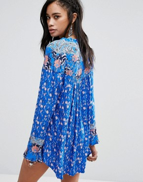 photo Wildflower Fields Printed Tunic Dress by Free People, color Sky - Image 2