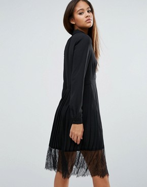 photo Lace Trim Pleated Shirt Dress by Vero Moda Tall, color Black - Image 2