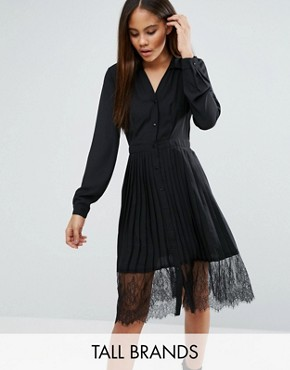 photo Lace Trim Pleated Shirt Dress by Vero Moda Tall, color Black - Image 1