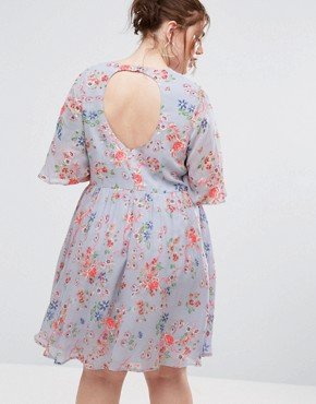 photo Pretty Floral Print Skater Dress with Embroidery by ASOS CURVE Premium, color  - Image 2