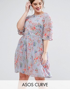 photo Pretty Floral Print Skater Dress with Embroidery by ASOS CURVE Premium, color  - Image 1