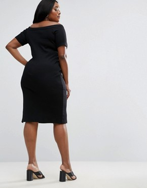 photo Off Shoulder Bodycon with Rib Neck Detail by ASOS CURVE, color Black - Image 2
