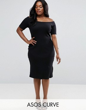 photo Off Shoulder Bodycon with Rib Neck Detail by ASOS CURVE, color Black - Image 1