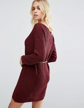 photo No Other Way Knitted Jumper Dress with Belt by Goldie, color Maroon - Image 2
