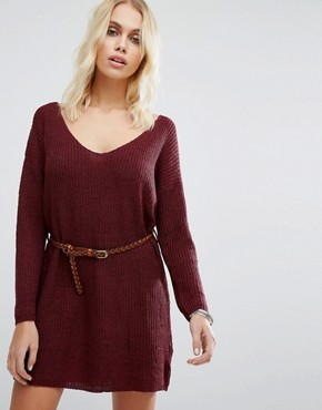 photo No Other Way Knitted Jumper Dress with Belt by Goldie, color Maroon - Image 1
