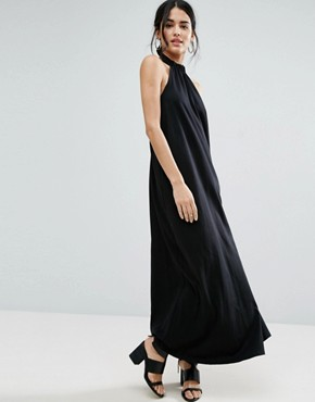 photo Halter Swing Maxi Dress by ASOS, color Black - Image 1