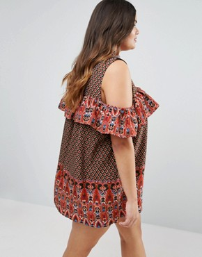 photo Dress with Frill Detail In Border Print by AX Paris Plus, color Red Print - Image 2