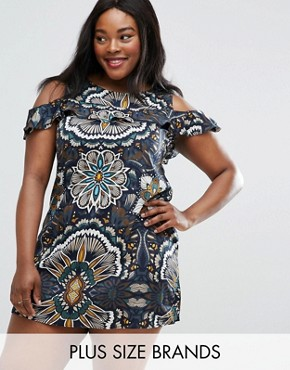 photo Dress with Cold Shoulder and Frill Detail by AX Paris Plus, color  - Image 1