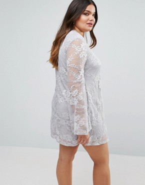 photo Dress In Lace with Flute Sleeves by AX Paris Plus, color Grey - Image 2