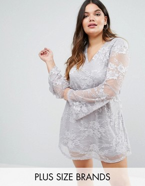 photo Dress In Lace with Flute Sleeves by AX Paris Plus, color Grey - Image 1