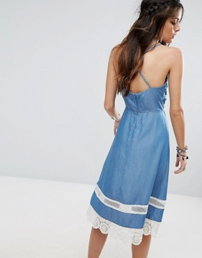 photo Tie-Front Chambray Dress with Crochet Trim by Lovers + Friends, color Mid Wash - Image 2