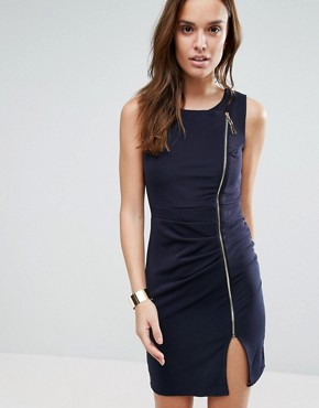 photo Zip Pencil Dress by Wal G, color Navy - Image 1