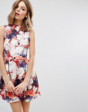 photo Rose Print Skater Dress by Wal G, color Red - Image 1