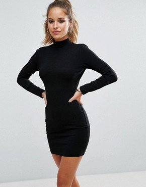 photo High Neck Bodycon Mini Dress with Bow Back by ASOS PETITE, color Black - Image 2