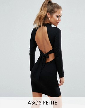 photo High Neck Bodycon Mini Dress with Bow Back by ASOS PETITE, color Black - Image 1