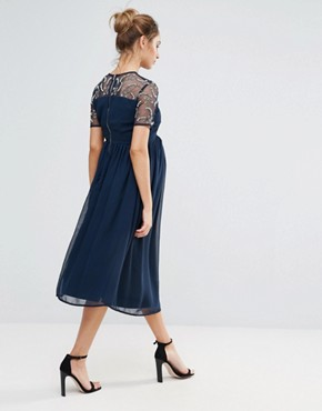 photo Embellished Detail Midi Dress with Chiffon Skirt by Maya Maternity, color Navy - Image 2