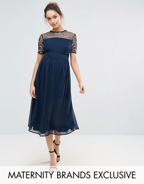 photo Embellished Detail Midi Dress with Chiffon Skirt by Maya Maternity, color Navy - Image 1