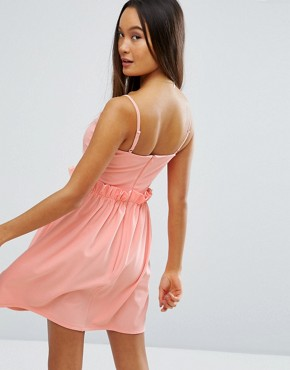 photo Mini Dress with Frill Waist Detail by ASOS, color Orange - Image 2