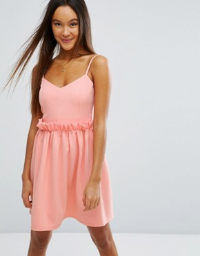 photo Mini Dress with Frill Waist Detail by ASOS, color Orange - Image 1