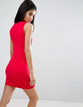 photo Sleeveless Mini Vest Dress with Twist Arm Detail by ASOS, color Red - Image 2