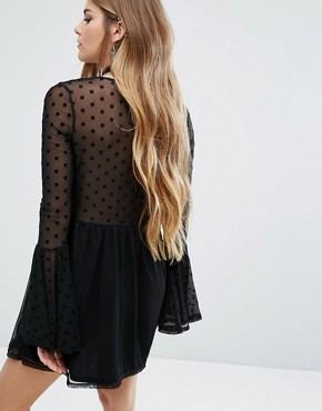 photo Swing Dress with Sheer Mesh Spot Layer by Rokoko, color Black - Image 2