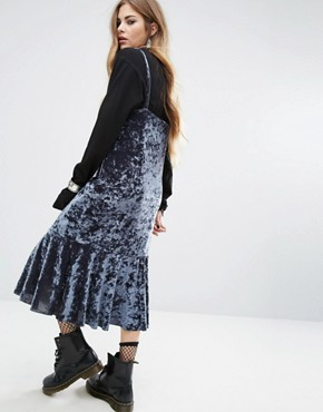 photo Midi Slip Dress with Ruffle Layers In Velvet by Rokoko, color Grey Blue - Image 2