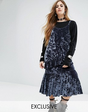 photo Midi Slip Dress with Ruffle Layers In Velvet by Rokoko, color Grey Blue - Image 1