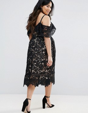 photo Cutwork Lace Cold Shoulder Midi Dress by New Look Plus, color Black - Image 2