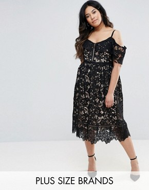 photo Cutwork Lace Cold Shoulder Midi Dress by New Look Plus, color Black - Image 1