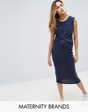 photo Wrap Midi Dress by New Look Maternity, color Blue - Image 1