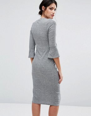 photo Flare Sleeve Knit Dress by New Look Maternity, color Grey - Image 2