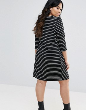 photo Stripe Swing Dress by New Look Plus, color Black - Image 2