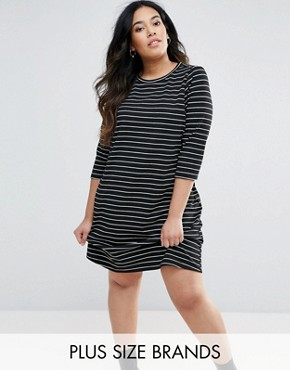 photo Stripe Swing Dress by New Look Plus, color Black - Image 1