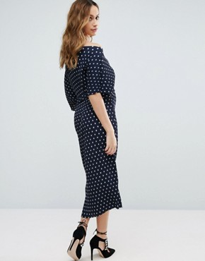 photo Polka Dot Plisse Midi Dress by New Look Maternity, color Blue Pattern - Image 2