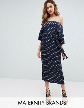 photo Polka Dot Plisse Midi Dress by New Look Maternity, color Blue Pattern - Image 1
