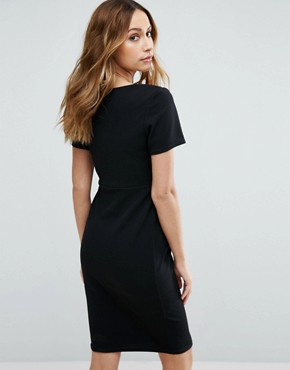 photo Wrap Short Sleeve Dress by New Look Maternity, color Black - Image 2