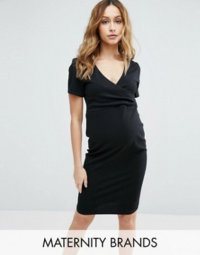 photo Wrap Short Sleeve Dress by New Look Maternity, color Black - Image 1